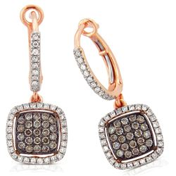 14k Rose Gold  0.73CTW Diamond and Brown Diamonds Earring