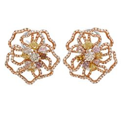 18k Three Tone Gold 4.31CTW Diamond, Pink Diamond and Multicolor Dia Earring, (S