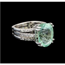 GIA Cert 8.55 ctw Emerald and Diamond Ring - 14KT White Gold