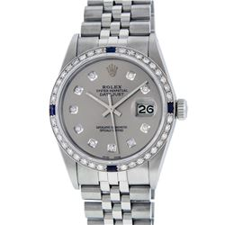 Rolex Mens Stainless Steel Gray Diamond & Sapphire 36MM Datejust Wristwatch