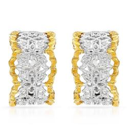 18k Two Tone Gold 0.22CTW Diamond Earring, (SI1/G-H)