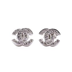 "0.35 ctw Diamond Double ""C"" Initial Stud Earrings - 14KT White Gold"