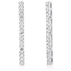 14k White Gold 1.25CTW Diamond Earring, (H)