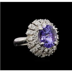 14KT White Gold 4.02 ctw Tanzanite and Diamond Ring