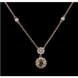 14KT Rose Gold 0.98 ctw Diamond Necklace
