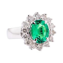 4.60 ctw Tsavorite And Diamond Ring - 14KT White Gold