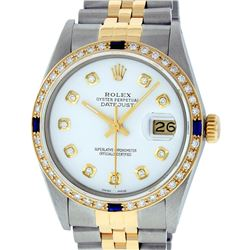 Rolex Mens 2 Tone 14K White Diamond & Sapphire Datejust Wriswatch