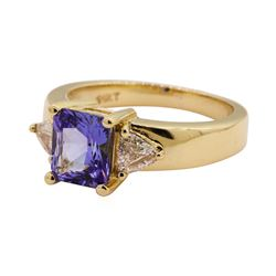 1.91 ctw Tanzanite and Diamond Ring - 14KT Yellow Gold