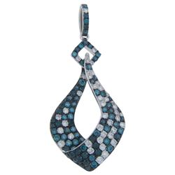 14k White Gold 1.39CTW Diamond and Blue Diamonds Pendant, (SI/H)