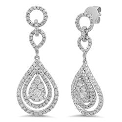 18k White Gold 1.24CTW Diamond Earring, (SI1-SI2/G-H)