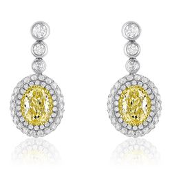 18k Two Tone Gold 2.39CTW Diamond Earring, (VS1-VS2/VS1-SI1/G-H)