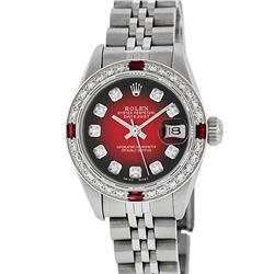 Rolex Ladies Stainless Steel Red Vignette Diamond & Ruby Datejust Wristwatch