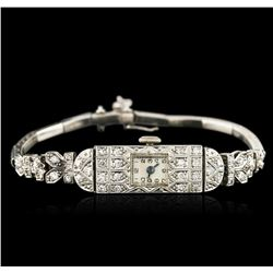 Platinum 0.72 ctw Diamond Vintage Ladies Watch