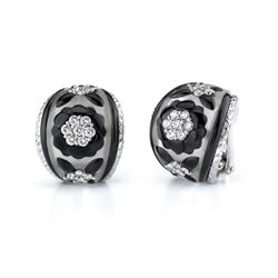 18k White Gold 1.14CTW Diamond and Onyx and Crystal Earring, (SI1 /H-I)
