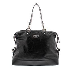 Celine Black Distressed Patent Leather Shoulder Handbag