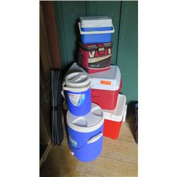 Qty 6 Coolers Ice Chests, Beverage Coolers - Coleman, Airlock, etc