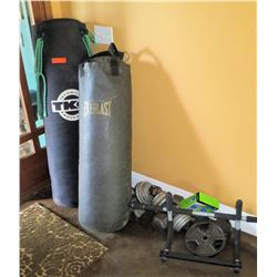 Qty 2 TK & Everlast Heavy Punching Bags w/ Misc Dumbbells, Weights & Bars