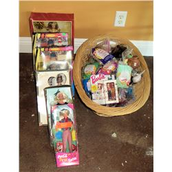 Qty 6 Barbies in Box w/ Basket of Accessories, Fast Food Toys, etc
