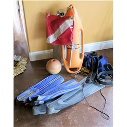 Water Safety Lot - Dive Flag, Life Buoy, Aqualung Fins and 2 Scuba Tanks