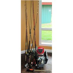 Large Fishing Lot - 8 Rods & Reels with 4 extra reels with bait bucket box of lines and rod holder.