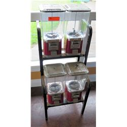 Qty 4 Pro-Line Metal Gumball & Candy Machines on Stand