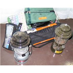 Qty 2 Camping Lights Lanterns w/ Toiletry Bag & Carrying Case