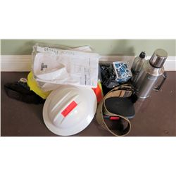 Qty 2 Thermos Flasks w/ Construction Hard Hat, Long Sleeve Shirts, etc