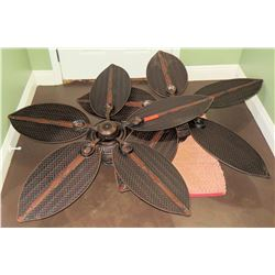 Qty 2 Leaf Shaped Woven Design Ceiling Fans