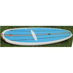 SP White Blue Stand Up Paddle Board SUP w/ 3 Fins