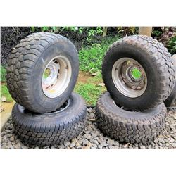 4-Truck Rims Aluminum Alloy 6x5.5 15 inch with 32x11.50R15LT mud tires approx. 3/4 tread