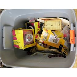 Plastic Bin w/ Auto Meter Brand Parts - Gauges, Misc Parts