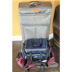 Lucas Gray Wheeled Suitcase w/ Handle, Vinyl Duffle, Canvas Bag