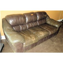 Brown Leather 3 Seat Couch Sofa