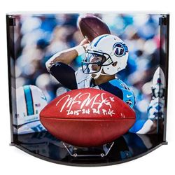 "Marcus Mariota Signed LE NFL Official Game Ball Inscribed ""2015 1st Rd Pick"" with Custom Curve Displ"
