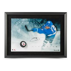 "Joe Sakic Signed Nordiques LE ""Slap Shot Breaking Through"" 16x24 Custom Framed Photo (UDA COA)"