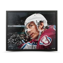 Joe Sakic Signed Avalanche 20x24 Custom Framed Canvas (UDA COA)