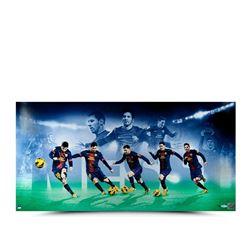 """Lionel Messi Signed """"Arrival"""" LE 18x36 Photo (UDA COA)"""