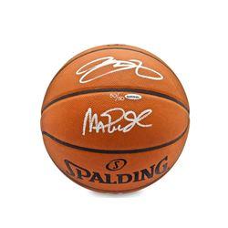 Magic Johnson  LeBron James Signed LE Spalding Basketball (UDA COA)