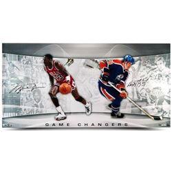 "Michael Jordan  Wayne Gretzky Signed ""Game Changers"" LE 18x36 Photo (UDA COA)"
