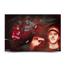 """Noah Hanifin Signed Hurricanes """"First Horn"""" 16x24 Photo Inscribed """"1st Goal 11/16/15"""" (UDA COA)"""
