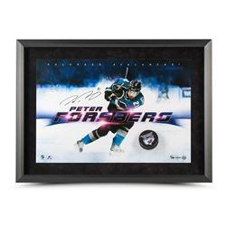 """Peter Forsberg Signed Avalanche """"Slap Shot Breaking Through"""" LE 16x24 Custom Framed Hockey Puck Disp"""