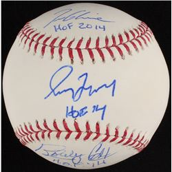 Tom Glavine, Greg Maddux,  Bobby Cox Signed OML Baseball with Hall of Fame Inscriptions (Steiner COA