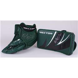 Marty Turco Signed Stars Game-Used Ice Hockey Goalie Blocker Glove Set (JSA COA)