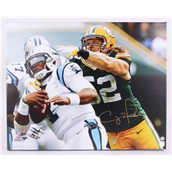 """Clay Matthews Signed Packers 24""""x30"""" Photo on Canvas (Matthews Hologram)"""