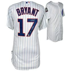 "Kris Bryant Signed Cubs Majestic Authentic 2016 World Series On-Field Jersey Inscribed ""2016 NL MVP"""