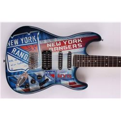 "Henrik Lundqvist Signed Limited Edition Rangers Electric Guitar Inscribed ""NYR All Time Wins Leader"""