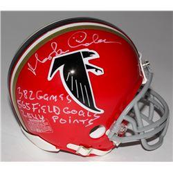 """Morten Andersen Signed Falcons Mini Helmet Inscribed """"382 Games"""", """"565 Field Goals"""",  """"2544 Points"""""""