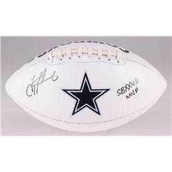 "Troy Aikman Signed Cowboys Logo Football Inscribed ""SB XXVII MVP"" (Aikman Hologram)"