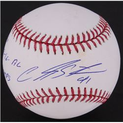 "Carlos Santana Signed OML Baseball Inscribed "" to 18-16-AL Champs"" (MLB Hologram)"