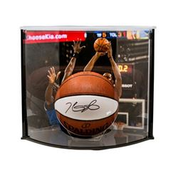 Kevin Durant Signed Warriors Logo Basketball with Curve Display Case (Panini COA)